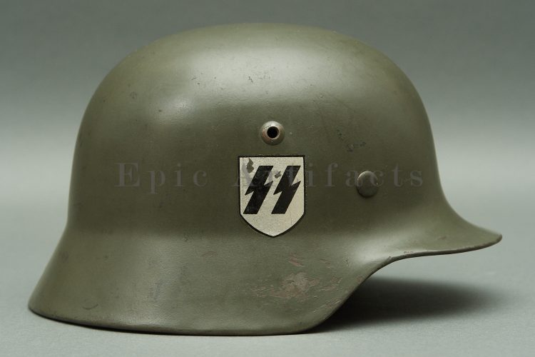 GERMAN MODEL 1935 WAFFEN SS DOUBLE DECAL HELMET