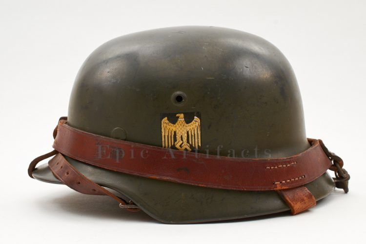 M35 Heer Helmet with Leather Helmet Carrying Strap