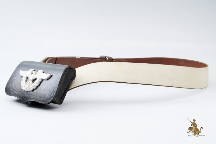 German Police White Cross Belt with Pouch