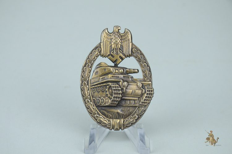 Nickel Silver GWL Panzer Assault Badge in Bronze