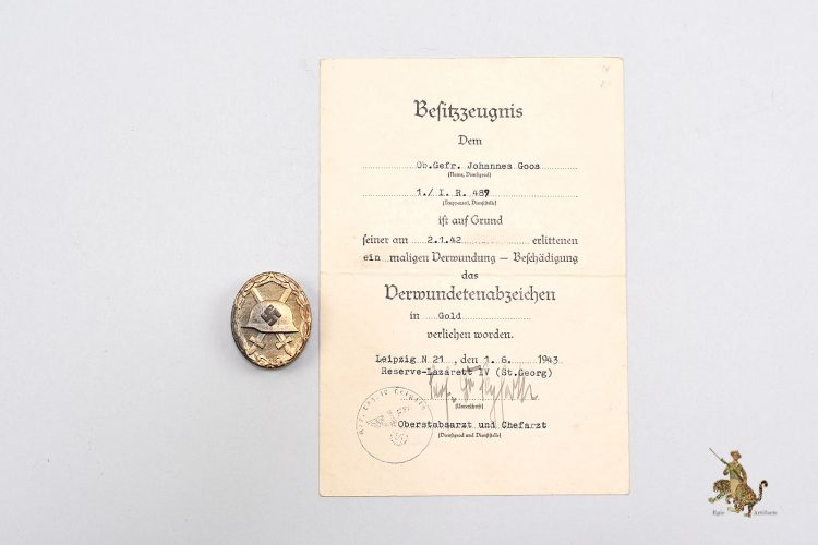 Gold Wound Badge with Award Document